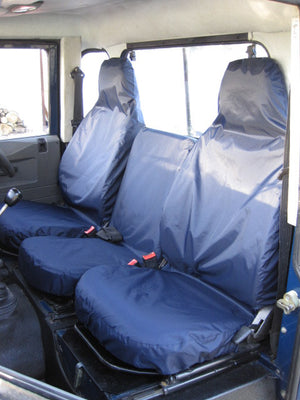 Land Rover Defender 1983 - 2007 Front Seat Covers 3 Front Seats / Navy Blue Turtle Covers Ltd