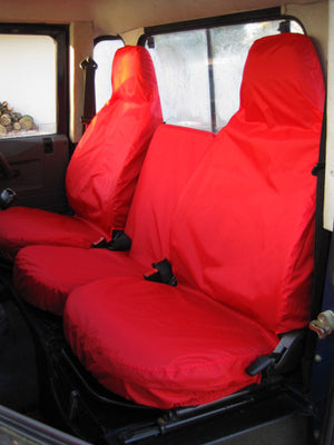 Land Rover Defender 1983 - 2007 Front Seat Covers 3 Front Seats / Red Turtle Covers Ltd