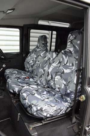 Land Rover Defender 1983 - 2007 Front Seat Covers 3 Front Seats / Grey Camouflage Turtle Covers Ltd