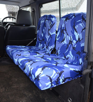 Land Rover Defender 1983 - 2007 Rear Seat Covers Set of 2 Dicky Seats / Blue Camouflage Turtle Covers Ltd