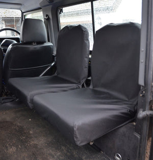 Land Rover Defender 1983 - 2007 Rear Seat Covers Set of 2 Dicky Seats / Black Turtle Covers Ltd