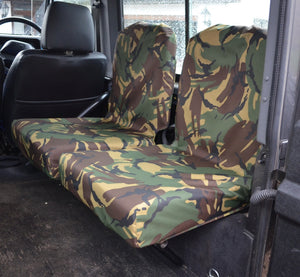 Land Rover Defender 1983 - 2007 Rear Seat Covers Set of 2 Dicky Seats / Green Camouflage Turtle Covers Ltd