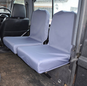 Land Rover Defender 1983 - 2007 Rear Seat Covers Set of 2 Dicky Seats / Grey Turtle Covers Ltd