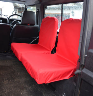 Land Rover Defender 1983 - 2007 Rear Seat Covers Set of 2 Dicky Seats / Red Turtle Covers Ltd