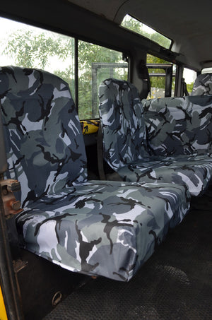 Land Rover Defender 1983 - 2007 Rear Seat Covers Set of 2 Dicky Seats / Grey Camouflage Turtle Covers Ltd