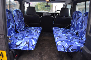 Land Rover Defender 1983 - 2007 Rear Seat Covers Set of 4 Dicky Seats / Blue Camouflage Turtle Covers Ltd