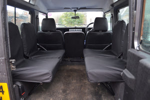 Land Rover Defender 1983 - 2007 Rear Seat Covers Set of 4 Dicky Seats / Black Turtle Covers Ltd