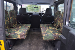 Land Rover Defender 1983 - 2007 Rear Seat Covers Set of 4 Dicky Seats / Green Camouflage Turtle Covers Ltd