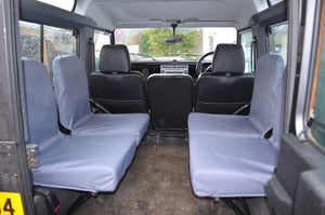 Land Rover Defender 1983 - 2007 Rear Seat Covers Set of 4 Dicky Seats / Grey Turtle Covers Ltd