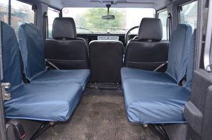 Land Rover Defender 1983 - 2007 Rear Seat Covers Set of 4 Dicky Seats / Navy Blue Turtle Covers Ltd