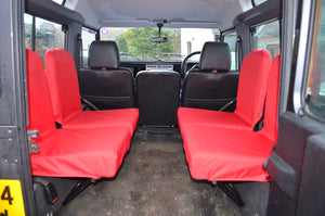 Land Rover Defender 1983 - 2007 Rear Seat Covers Set of 4 Dicky Seats / Red Turtle Covers Ltd