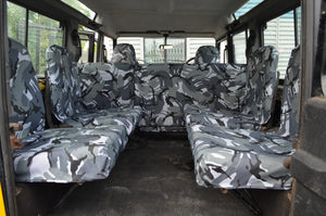 Land Rover Defender 1983 - 2007 Rear Seat Covers Set of 4 Dicky Seats / Grey Camouflage Turtle Covers Ltd