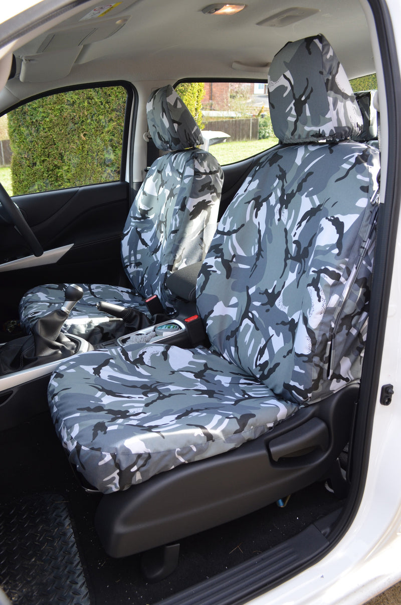 Nissan Navara NP300 Double Cab (2016 Onwards) Tailored Seat Covers Front Seats / Urban Camouflage Turtle Covers Ltd