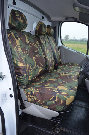 Renault Trafic 2001 - 2006 Tailored Front Seat Covers Green Camouflage / Without Driver's Armrest Turtle Covers Ltd