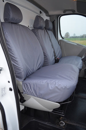 Vauxhall Vivaro 2006 - 2013 Tailored Front Seat Covers Grey / Without Driver's Armrest Turtle Covers Ltd