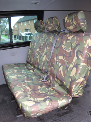 VW Volkswagen Transporter T5 Kombi 2010 - 2015 Rear Seat Covers One-Piece Triple Bench / Green Camo Turtle Covers Ltd