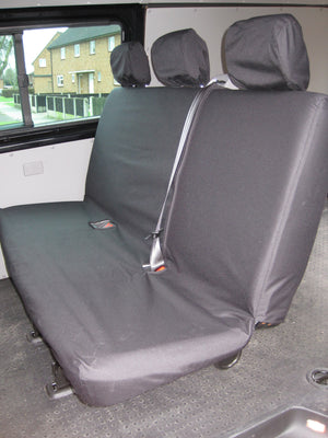 VW Volkswagen Transporter T5 Kombi 2010 - 2015 Rear Seat Covers One-Piece Triple Bench / Black Turtle Covers Ltd