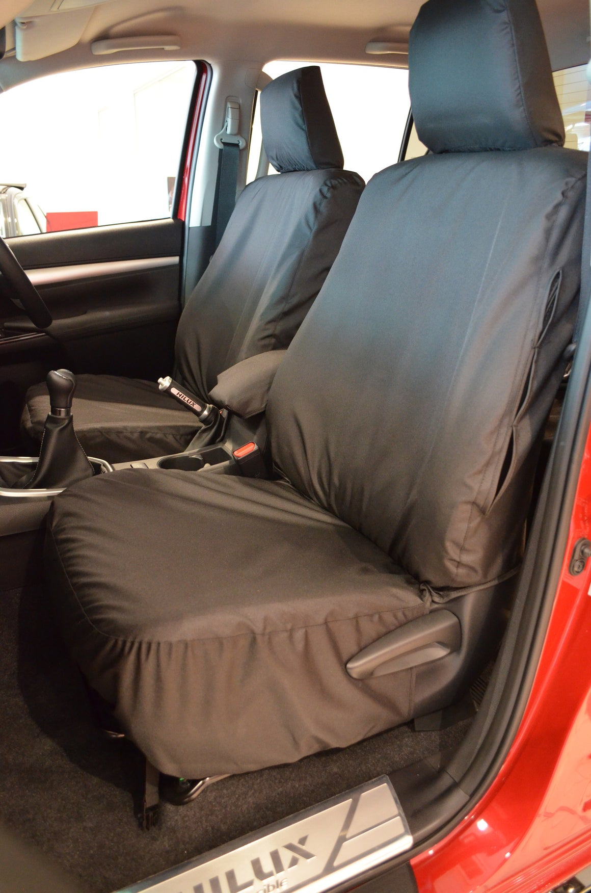 Toyota Hilux Invincible 2016+ Tailored Seat Covers Front Seat Covers / Black Turtle Covers Ltd