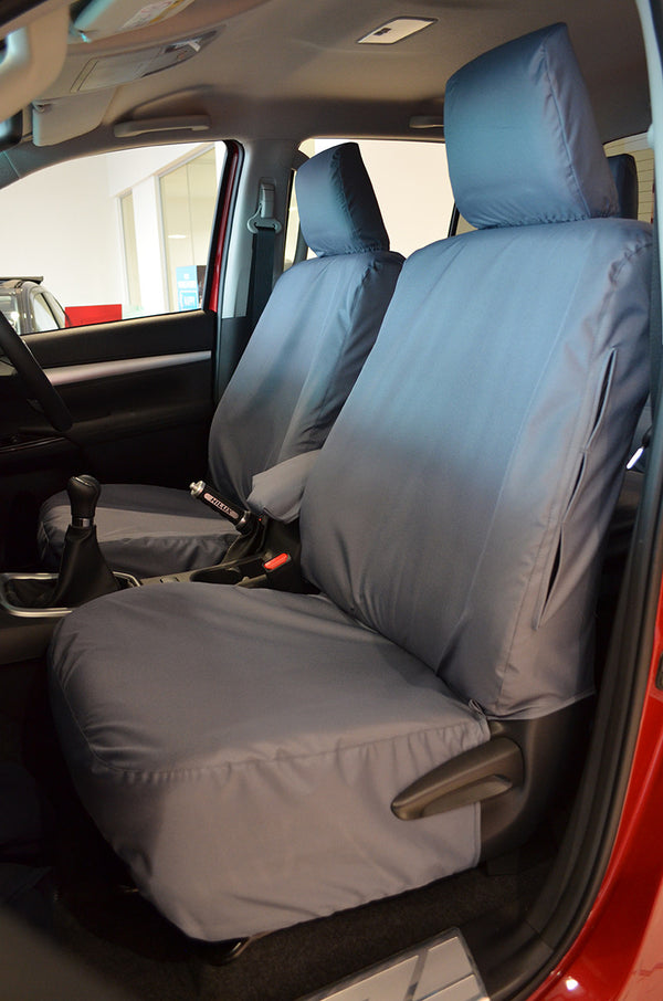 Grey Camouflage Tailored Waterproof Front Seat Covers for Toyota Hilux 2002-2005