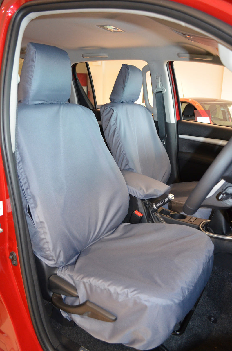 Toyota Hilux Invincible 2016+ Tailored Seat Covers Front Seat Covers / Grey Turtle Covers Ltd