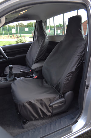 Toyota Hilux Single Cab 2016+ Tailored Seat Covers Black / Front Pair Turtle Covers Ltd