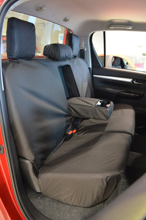 Toyota Hilux Invincible 2016+ Tailored Seat Covers Rear Seat Covers / Black Turtle Covers Ltd