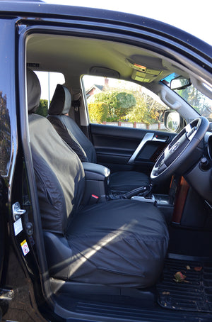 Toyota Land Cruiser 2009+ Tailored and Waterproof Seat Covers Black / Front Pair Turtle Covers Ltd