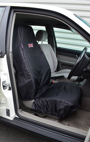 Turtle Covers Universal Utility Single Front Seat Cover with Embroidered Flag