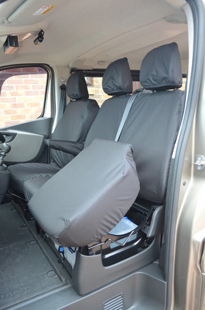 Renault Trafic Van 2014 Onwards Tailored Front Seat Covers Black / Seperate Headrests & Underseat Storage Turtle Covers Ltd