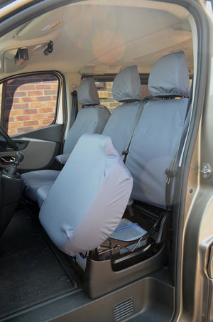 Renault Trafic Van 2014 Onwards Tailored Front Seat Covers Grey / Seperate Headrests & Underseat Storage Turtle Covers Ltd