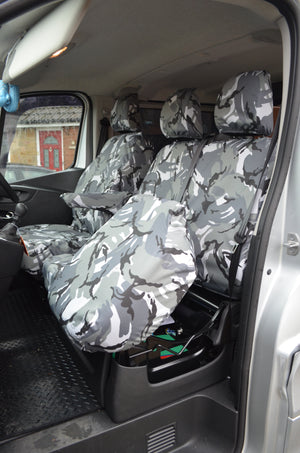 Vauxhall Vivaro 2014 - 2019 Tailored Front Seat Covers Grey Camouflage / Separate Headrests & Underseat Storage Turtle Covers Ltd