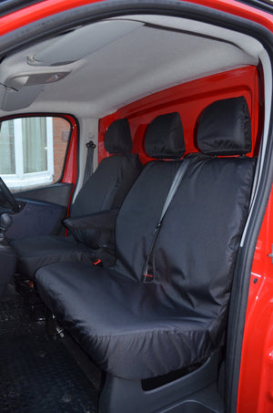Vauxhall Vivaro 2014 - 2019 Tailored Front Seat Covers Black / Fixed Double Passenger [No Underseat Storage] Turtle Covers Ltd