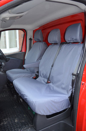 Renault Trafic Van 2014 Onwards Tailored Front Seat Covers Grey / Fixed Double Seat [No Underseat Storage] Turtle Covers Ltd