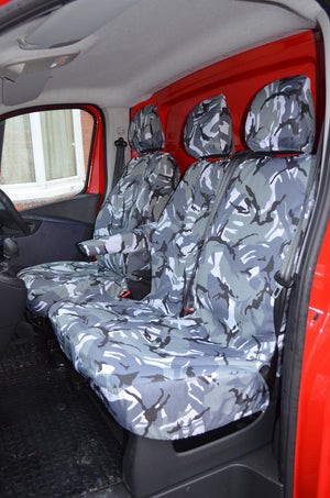 Vauxhall Vivaro 2014 - 2019 Tailored Front Seat Covers Grey Camouflage / Fixed Double Passenger [No Underseat Storage] Turtle Covers Ltd