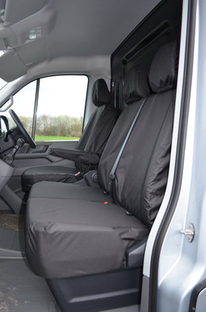 VW Crafter 2017+ Van Tailored & Waterproof Seat Covers Black / Fronts Turtle Covers Ltd