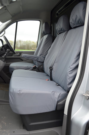 VW Crafter 2017+ Van Tailored & Waterproof Seat Covers Grey / Fronts Turtle Covers Ltd