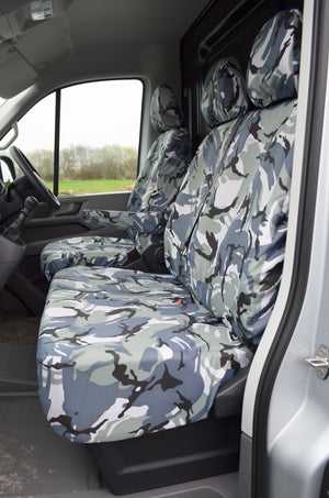 VW Crafter 2017+ Van Tailored & Waterproof Seat Covers Grey Camouflage / Fronts Turtle Covers Ltd
