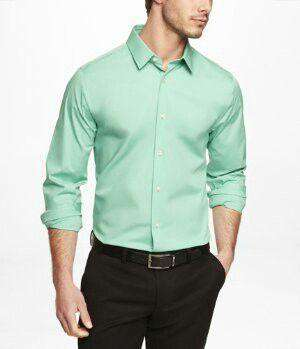 Office Shirts Cotton Green
