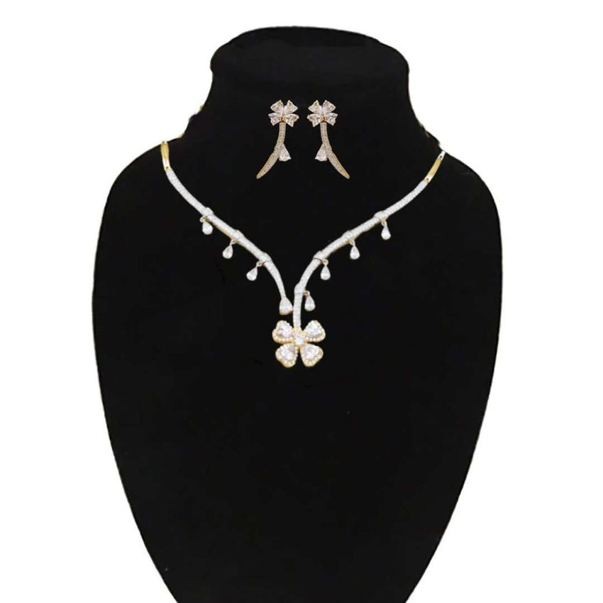 Astonishing Flower Style Slim Jewelry Set For Party Wear