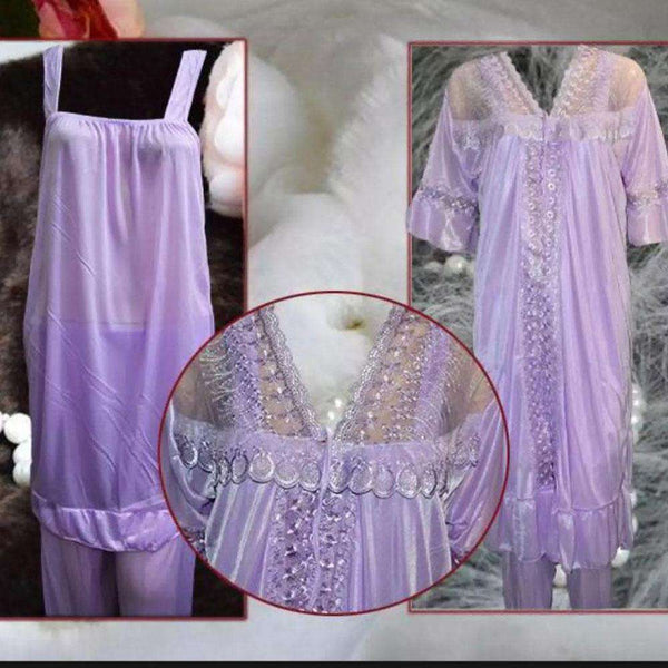 3 Piece Goun Silky Nighty