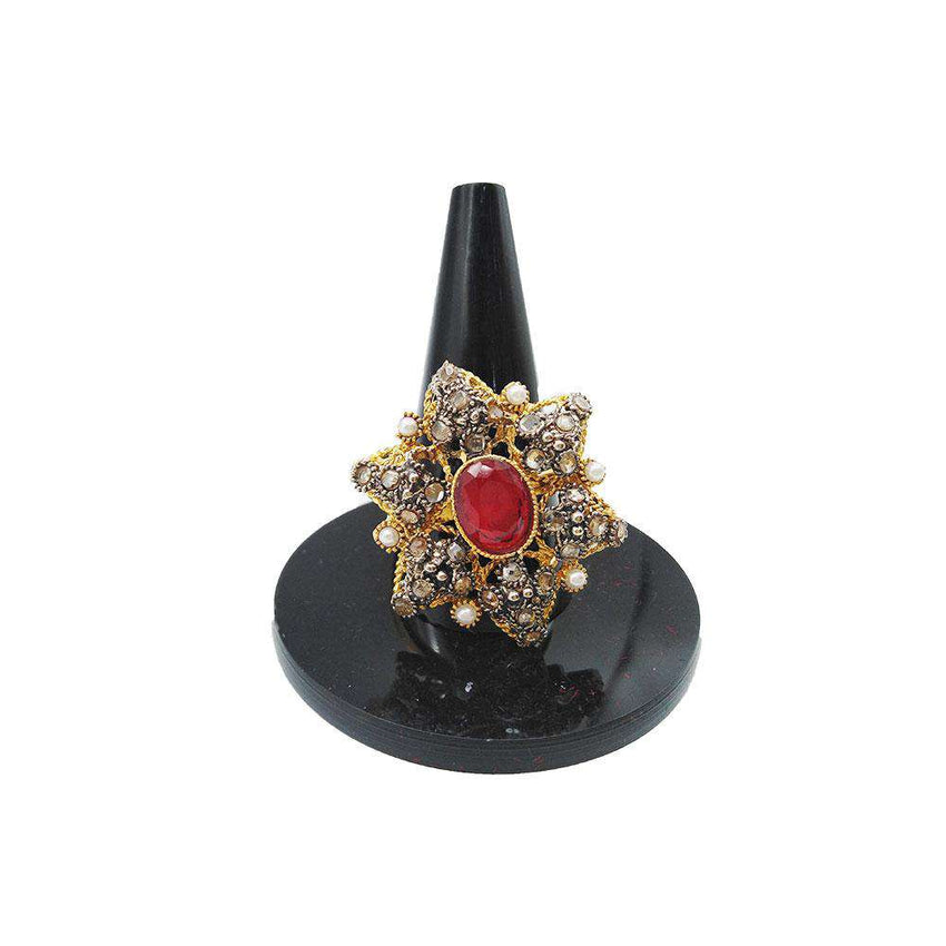 Beautiful Flower Shape Red Stone Gold Ring