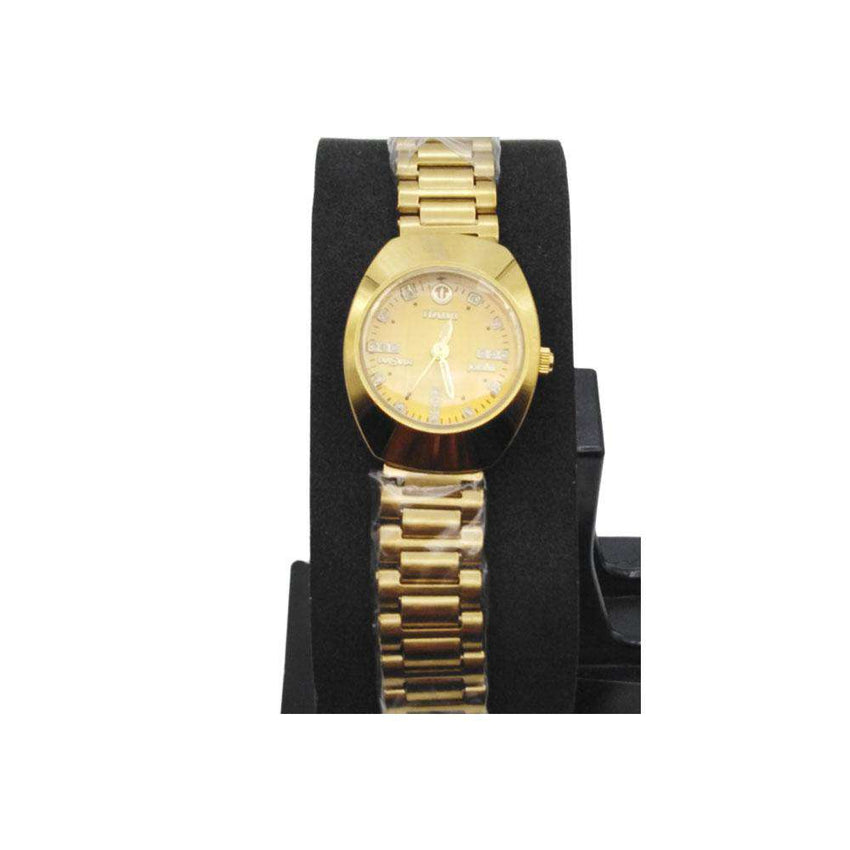 Golden Color Chain Watch For Girls