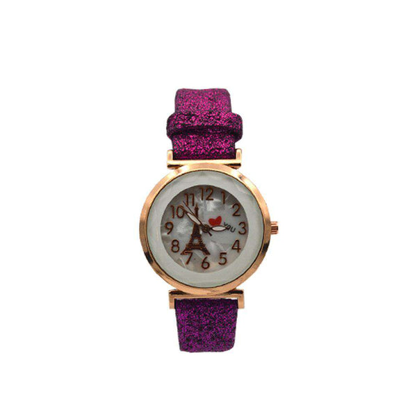 Eiffel Tower Dial Watch With Velvet Strap