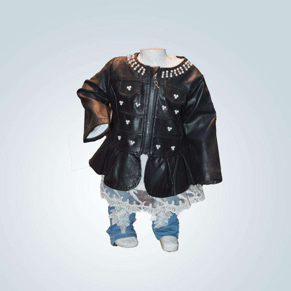 Leather Jacket Baby Frock