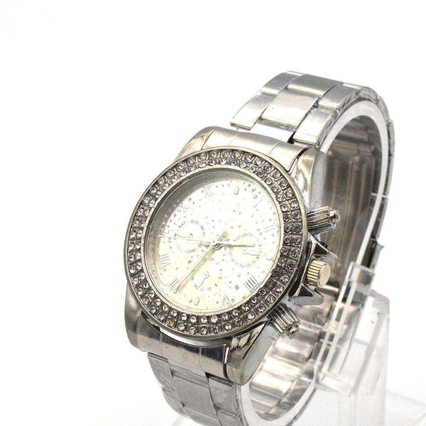 Grey Dial With Stones Watch For Men