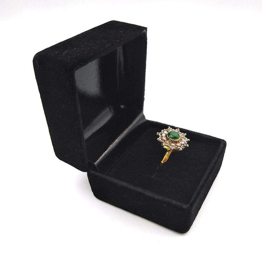 Green Stone Gold Ring For Girls