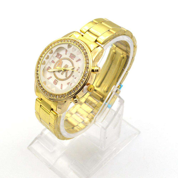 Attractive Golden Dial Watch For Girls