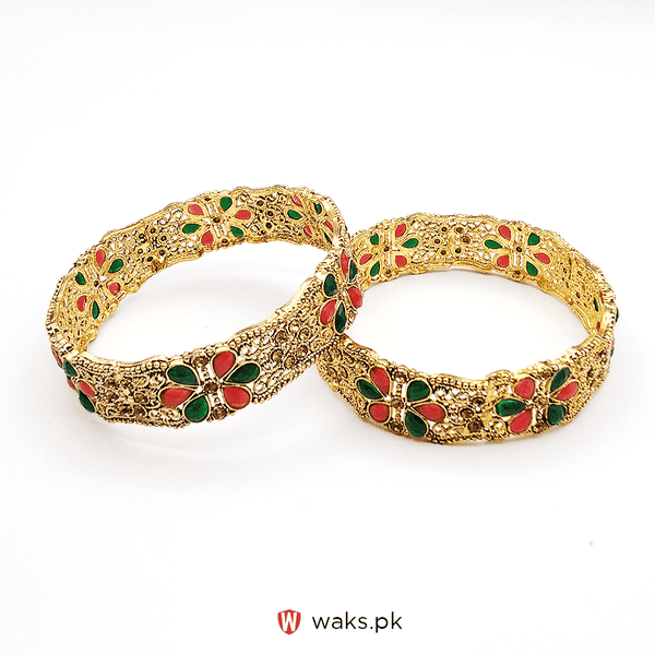 Multi-Color Zircon Stone Bangle Set of 2