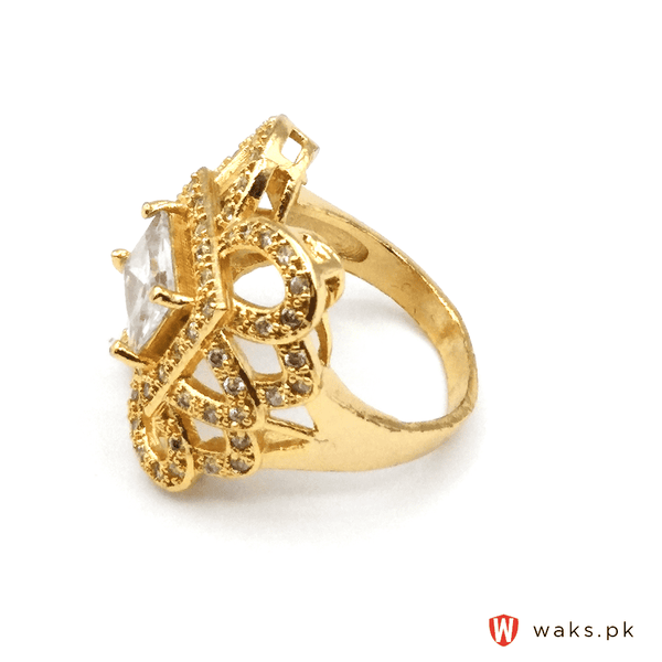 White Stone Flower Shape Ring