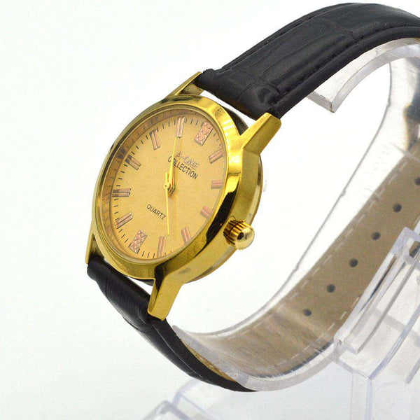 Black Strap & Golden Dial Watch For Women